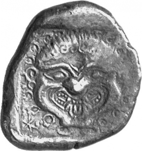Οπισθότυπος 'SilCoinCy A1380, acc.no.: 1852/9926. silver coin of king Uncertain king of Cyprus (archaic period) of Uncertain Cypriot mint  - . Weight: 10.08g, Axis: 12h, Diameter: 23mm. Obverse type: Lion's head r. with open jaws. Obverse symbol: -. Obverse legend: - in -. Reverse type: Gorgoneion. Reverse symbol: -. Reverse legend: a in Cypriot syllabic. 'Du classement des séries chypriotes', 'BMC Cyprus, A Catalogue of the Greek Coins in the British Museum, Cyprus'.
