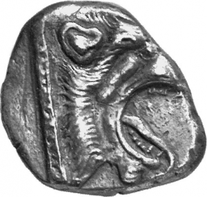 Εμπροσθότυπος 'SilCoinCy A1380, acc.no.: 1852/9926. silver coin of king Uncertain king of Cyprus (archaic period) of Uncertain Cypriot mint  - . Weight: 10.08g, Axis: 12h, Diameter: 23mm. Obverse type: Lion's head r. with open jaws. Obverse symbol: -. Obverse legend: - in -. Reverse type: Gorgoneion. Reverse symbol: -. Reverse legend: a in Cypriot syllabic. 'Du classement des séries chypriotes', 'BMC Cyprus, A Catalogue of the Greek Coins in the British Museum, Cyprus'.