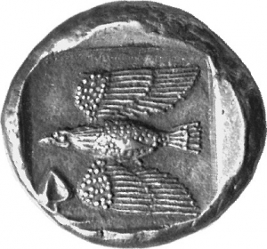 Οπισθότυπος 'SilCoinCy A1254, acc.no.: 1873 Fox. silver coin of king Onasi(-) of Paphos . Weight: 11.21g, Axis:  6h, Diameter: 21mm. Obverse type: Bull standing l.; above winged solar disk; to l. ankh. Obverse symbol: -. Obverse legend: uncertain in Cypriot syllabic. Reverse type: Eagle flying l.; ivy leaf below. Reverse symbol: -. Reverse legend: - in -. 'Du classement des séries chypriotes', 'BMC Cyprus, A Catalogue of the Greek Coins in the British Museum, Cyprus'.
