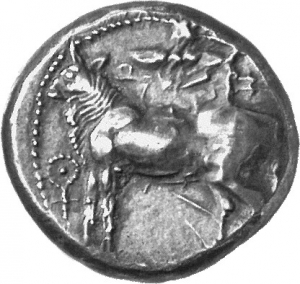 Εμπροσθότυπος 'SilCoinCy A1254, acc.no.: 1873 Fox. silver coin of king Onasi(-) of Paphos . Weight: 11.21g, Axis:  6h, Diameter: 21mm. Obverse type: Bull standing l.; above winged solar disk; to l. ankh. Obverse symbol: -. Obverse legend: uncertain in Cypriot syllabic. Reverse type: Eagle flying l.; ivy leaf below. Reverse symbol: -. Reverse legend: - in -. 'Du classement des séries chypriotes', 'BMC Cyprus, A Catalogue of the Greek Coins in the British Museum, Cyprus'.