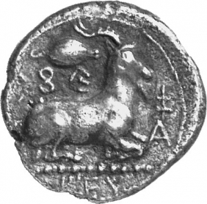 Reverse 'SilCoinCy A1306, acc.no.: 1877 / 146. silver coin of king Evagoras I of Salamis 411 - 374 BC. Weight: 10.59g, Axis:  1h, Diameter: 23mm. Obverse type: Heracles head r. bearded with lion skin headdress. Obverse symbol: -. Obverse legend: ( e-u-wa-ko-ro ) in Cypriot syllabic. Reverse type: Ram lying r. on exergual line ; grain of corn above. Reverse symbol: . Reverse legend: pa-si-le-wo-se / EY / A in Cypriot syllabic + Greek.