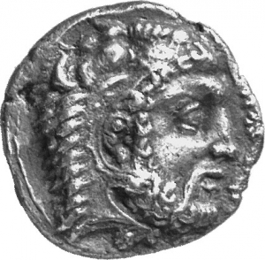 Obverse 'SilCoinCy A1306, acc.no.: 1877 / 146. silver coin of king Evagoras I of Salamis 411 - 374 BC. Weight: 10.59g, Axis:  1h, Diameter: 23mm. Obverse type: Heracles head r. bearded with lion skin headdress. Obverse symbol: -. Obverse legend: ( e-u-wa-ko-ro ) in Cypriot syllabic. Reverse type: Ram lying r. on exergual line ; grain of corn above. Reverse symbol: . Reverse legend: pa-si-le-wo-se / EY / A in Cypriot syllabic + Greek.