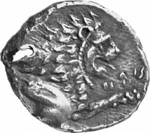 Οπισθότυπος 'SilCoinCy A1130, acc.no.: 1900 Imhoof-Blumer. silver coin of king Zotimos of Amathous 385/380 BC. Weight:  6.57g, Axis:  9h, Diameter: 19mm. Obverse type: Lion lying r. with eagle above. Obverse symbol: -. Obverse legend: (zo)-ti-mo in Cypriot syllabic. Reverse type: Lion forepart r.. Reverse symbol: -. Reverse legend: zo-ti-mo in Cypriot syllabic. 'Du classement des séries chypriotes', 'Le monnayage d'Amathonte', 'BMC Cyprus, A Catalogue of the Greek Coins in the British Museum, Cyprus'.