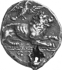 Εμπροσθότυπος 'SilCoinCy A1130, acc.no.: 1900 Imhoof-Blumer. silver coin of king Zotimos of Amathous 385/380 BC. Weight:  6.57g, Axis:  9h, Diameter: 19mm. Obverse type: Lion lying r. with eagle above. Obverse symbol: -. Obverse legend: (zo)-ti-mo in Cypriot syllabic. Reverse type: Lion forepart r.. Reverse symbol: -. Reverse legend: zo-ti-mo in Cypriot syllabic. 'Du classement des séries chypriotes', 'Le monnayage d'Amathonte', 'BMC Cyprus, A Catalogue of the Greek Coins in the British Museum, Cyprus'.