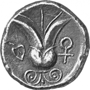 Reverse 'SilCoinCy A1224, acc.no.: 1873 Fox. silver coin of king Uncertain king of Idalion of Idalion 500 - 480 BC. Weight:  2.12g, Axis:  1h, Diameter: 15mm. Obverse type: Sphinx seated l., raising r. foreleg on an inversed lotus flower. Obverse symbol: -. Obverse legend: e-ta-li in Cypriot syllabic. Reverse type: Lotus  flower on two spiral tendrils; ankh, r. ; ivy leaf l. in incuse circle. Reverse symbol: -. Reverse legend: - in -.