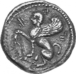 Obverse 'SilCoinCy A1224, acc.no.: 1873 Fox. silver coin of king Uncertain king of Idalion of Idalion 500 - 480 BC. Weight:  2.12g, Axis:  1h, Diameter: 15mm. Obverse type: Sphinx seated l., raising r. foreleg on an inversed lotus flower. Obverse symbol: -. Obverse legend: e-ta-li in Cypriot syllabic. Reverse type: Lotus  flower on two spiral tendrils; ankh, r. ; ivy leaf l. in incuse circle. Reverse symbol: -. Reverse legend: - in -.