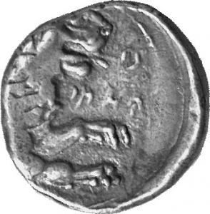 Οπισθότυπος 'SilCoinCy A1131, acc.no.: 1873 Fox. silver coin of king (-)timos of Amathous 385/380 BC - . Weight:  6.63g, Axis:  8h, Diameter: 19mm. Obverse type: Lion lying r. with eagle above. Obverse symbol: -. Obverse legend: ?-?-?-? in Cypriot syllabic. Reverse type: Lion forepart r.. Reverse symbol: -. Reverse legend: ?-?-ti-mo in Cypriot syllabic. 'Le monnayage d'Amathonte', 'BMC Cyprus, A Catalogue of the Greek Coins in the British Museum, Cyprus'.