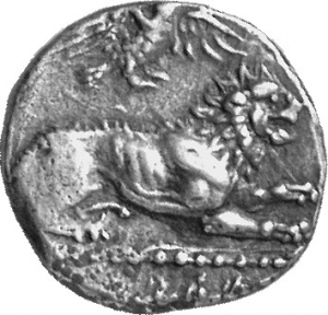 Εμπροσθότυπος 'SilCoinCy A1131, acc.no.: 1873 Fox. silver coin of king (-)timos of Amathous 385/380 BC - . Weight:  6.63g, Axis:  8h, Diameter: 19mm. Obverse type: Lion lying r. with eagle above. Obverse symbol: -. Obverse legend: ?-?-?-? in Cypriot syllabic. Reverse type: Lion forepart r.. Reverse symbol: -. Reverse legend: ?-?-ti-mo in Cypriot syllabic. 'Le monnayage d'Amathonte', 'BMC Cyprus, A Catalogue of the Greek Coins in the British Museum, Cyprus'.