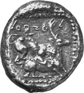 Οπισθότυπος 'SilCoinCy A1166, acc.no.: 1871 / 381. silver coin of king Ozibaal of Kition 450 - 425 BC. Weight: 10.72g, Axis: 12h, Diameter: 23mm. Obverse type: Heracles advancing r. holding club and bow. Obverse symbol: -. Obverse legend: - in -. Reverse type: Lion devouring stag r.. Reverse symbol: -. Reverse legend: l'zb'l in Phoenician.