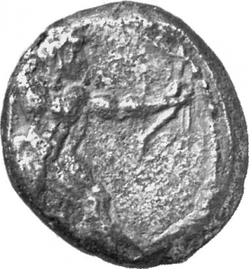 Εμπροσθότυπος 'SilCoinCy A1166, acc.no.: 1871 / 381. silver coin of king Ozibaal of Kition 450 - 425 BC. Weight: 10.72g, Axis: 12h, Diameter: 23mm. Obverse type: Heracles advancing r. holding club and bow. Obverse symbol: -. Obverse legend: - in -. Reverse type: Lion devouring stag r.. Reverse symbol: -. Reverse legend: l'zb'l in Phoenician.