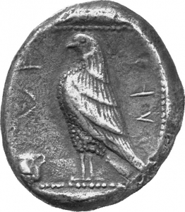 Reverse 'SilCoinCy A1246, acc.no.: 1906 Löbbecke. silver coin of king Stasandros of Paphos 460 - ?. Weight: 10.68g, Axis:  9h, Diameter: 20-23mm. Obverse type: Bull standing l.; above winged solar disk; to l. ankh. Obverse symbol: Ankh. Obverse legend: - in -. Reverse type: Eagle standing l. ; oenochoe on the field. Reverse symbol: -. Reverse legend: sa-ta-sa-to-ro in Cypriot syllabic. 'BMC Cyprus, A Catalogue of the Greek Coins in the British Museum, Cyprus', 'Archaic and Classical Greek Coins'.