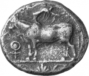 Obverse 'SilCoinCy A1246, acc.no.: 1906 Löbbecke. silver coin of king Stasandros of Paphos 460 - ?. Weight: 10.68g, Axis:  9h, Diameter: 20-23mm. Obverse type: Bull standing l.; above winged solar disk; to l. ankh. Obverse symbol: Ankh. Obverse legend: - in -. Reverse type: Eagle standing l. ; oenochoe on the field. Reverse symbol: -. Reverse legend: sa-ta-sa-to-ro in Cypriot syllabic. 'BMC Cyprus, A Catalogue of the Greek Coins in the British Museum, Cyprus', 'Archaic and Classical Greek Coins'.