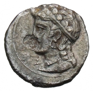 Οπισθότυπος 'SilCoinCy A1327, acc.no.: 1906 Löbbecke. silver coin of king Evagoras II (not as king of Salamis) of Cilician mint ? after 351 BC. Weight:  0.56g, Axis: 7h, Diameter: 11mm. Obverse type: Male bust facing with persian headdress. Obverse symbol: star. Obverse legend: - in -. Reverse type: Male bust l. with crown, earring and torque. Reverse symbol: -. Reverse legend: - in -. 'BMC Cyprus, A Catalogue of the Greek Coins in the British Museum, Cyprus'.