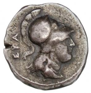 Εμπροσθότυπος 'SilCoinCy A1321, acc.no.: 1873 Fox. silver coin of king Evagoras II of Salamis 361 - 351 BC. Weight:  7.08g, Axis:  3h, Diameter: 19mm. Obverse type: Aphrodite head r. with turreted crown. Obverse symbol: -. Obverse legend: ΒΑ in Greek. Reverse type: Athena head r. with crested corinthian helmet. Reverse symbol: -. Reverse legend: ΕΥΑ in Greek. 'Du classement des séries chypriotes', 'BMC Cyprus, A Catalogue of the Greek Coins in the British Museum, Cyprus'.