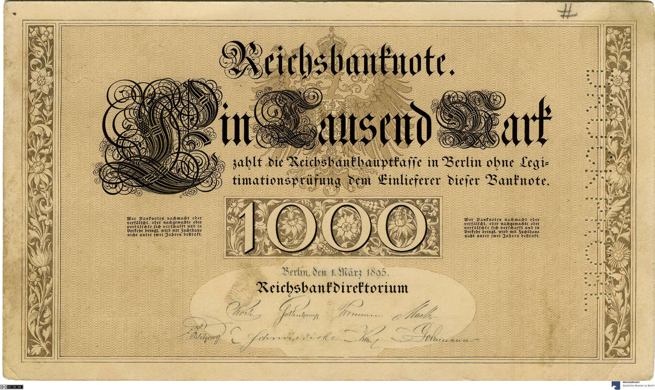 Deutsches Reich: 1.000 Mark 1895 Probe