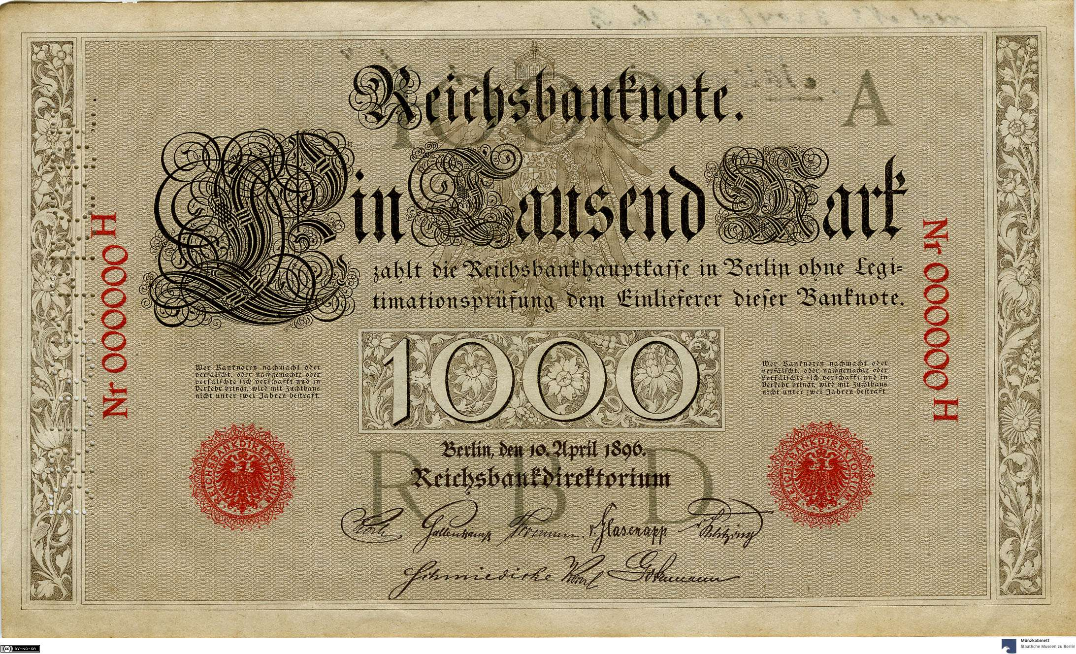 Deutsches Reich: 1.000 Mark 1896 Probe