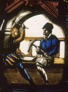 Schaffhausen: Glasfenster mit Szenen der Münzherstellung