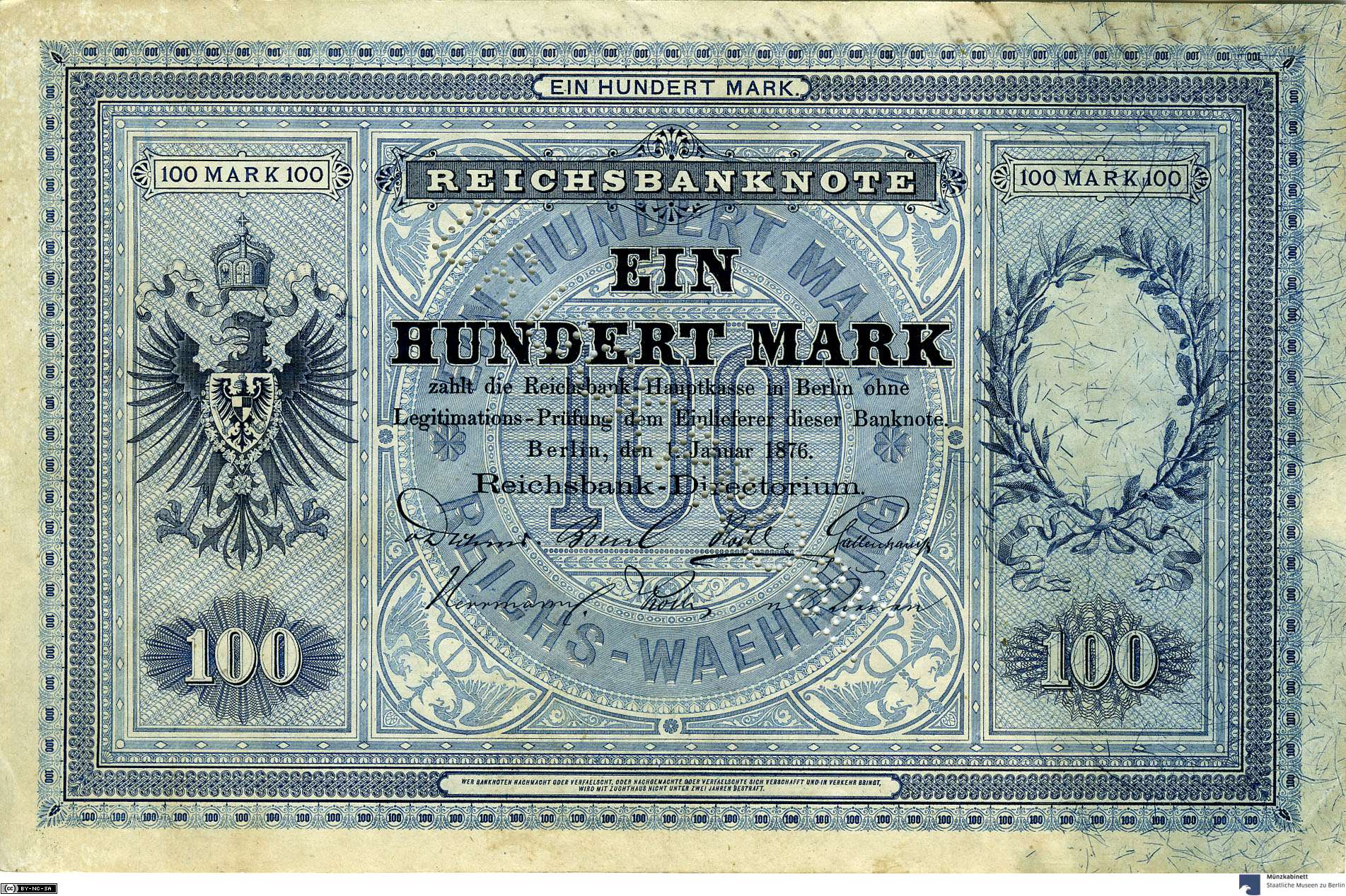 Deutsches Reich: 100 Mark 1876 Probe